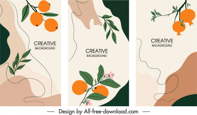 nature background templates flat handdrawn fruits sketch