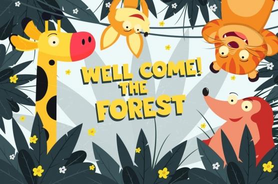 nature banner cute animal icons cartoon design
