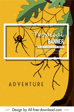 nature banner spider tree sketch classic flat decor