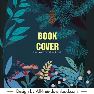 nature book cover template dark colorful classic design