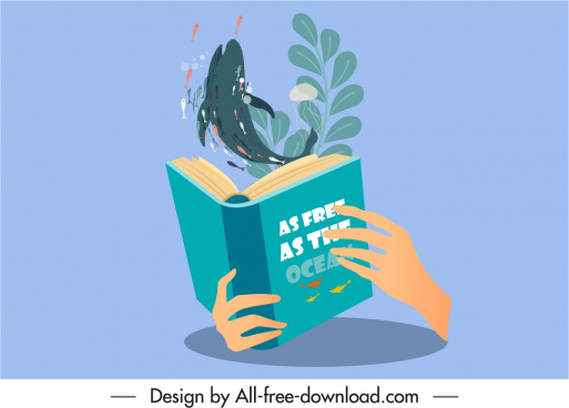 nature book icon dynamic whale 3d book sketch