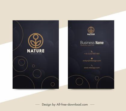 nature business card template elegant dark decor