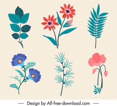 nature design elements classic flower leaf sketch