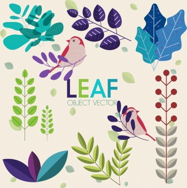 nature design elements colorful leaf birds icons