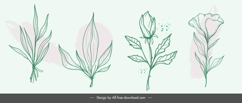 nature design elements handdrawn classic design