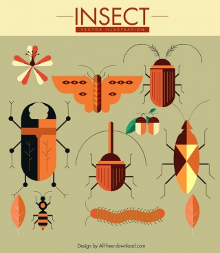 nature design elements insects leaf plant icons