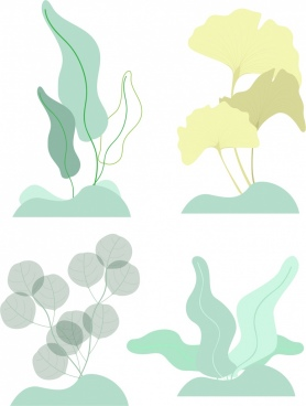 nature design elements leaf icons colored sketch