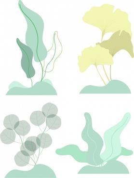 nature design elements leaf icons colored sketch