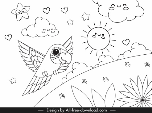 nature drawing cute stylized design handdrawn sketch