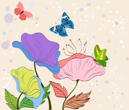 nature drawing multicolored design flowers butterflies icons