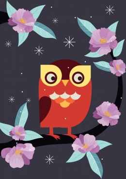 nature drawing pink flower perching owl icons