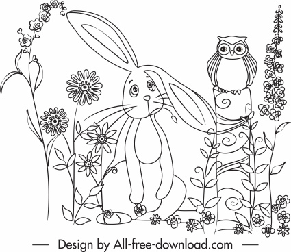 nature drawing rabbit owl flowers cute handdrawn cartoon