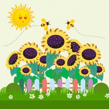 nature drawing stylized sun sunflower honeybee icons