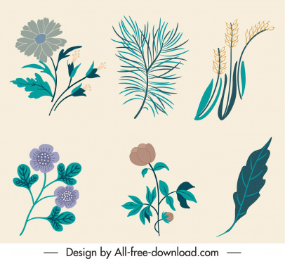 nature elements icons classic handdrawn floras leaves sketch