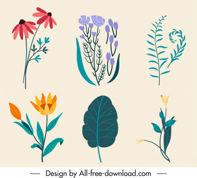 nature elements icons colorful classic handdrawn sketch