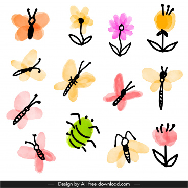 nature elements icons colorful flat handdrawn classic sketch