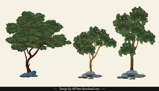 nature elements icons green trees sketch classic design