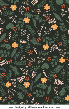 nature elements pattern dark classic botany leaf decor