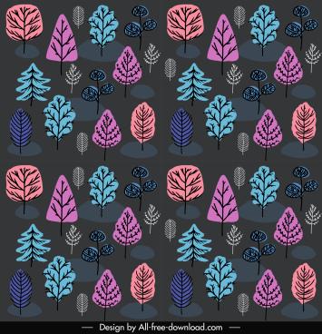 nature elements pattern dark flat retro handdrawn sketch