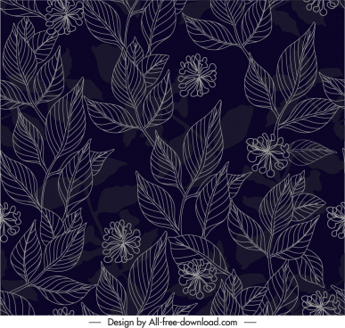 nature elements pattern dark handdrawn botany leaf sketch