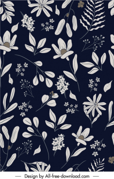 nature elements pattern dark retro botany leaf decor