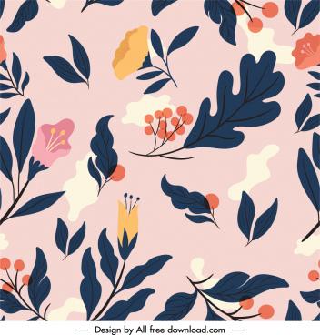 nature elements pattern flat colorful vintage design