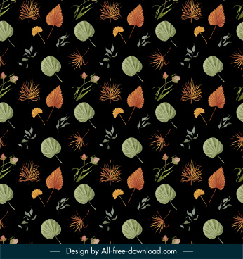 nature elements pattern leaves flowers decor dark repeating