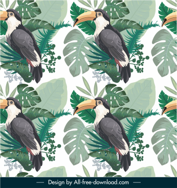 nature elements pattern repeating toucan leaves decor