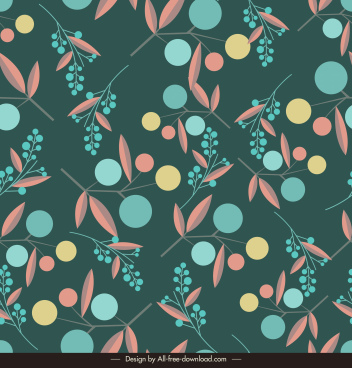 nature elements pattern template colorful flat design