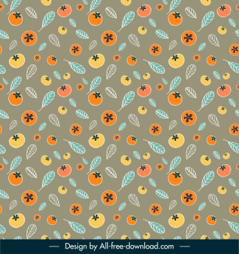 nature elements pattern template colorful flat repeating messy