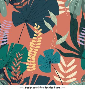 nature elements pattern template retro flat multicolored decor