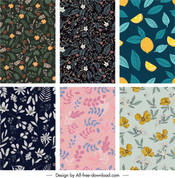 nature elements pattern templates flat handdrawn classic design