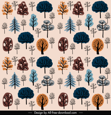 nature elements pattern trees shape sketch handdrawn classic