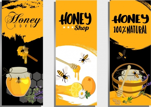 nature honey advertising sets yellow black decor