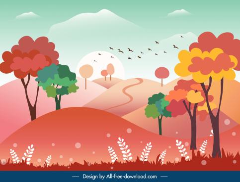 nature landscape background colorful flat classic design