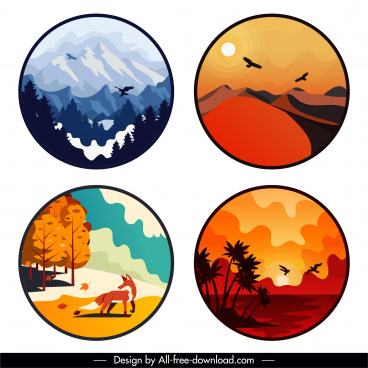 nature landscape backgrounds colored classical design circle isolation