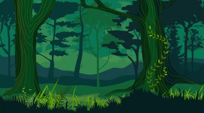 nature landscape drawing dark green design forest icon