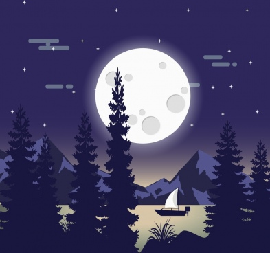 nature landscape drawing round moon lake boat icons