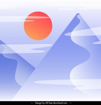 nature landscape painting sun mountain sketch flat classic
