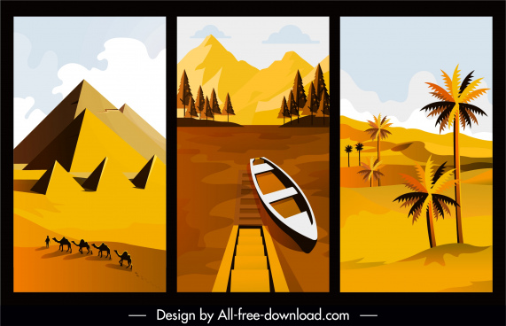 nature landscape paintings desert river sketch classical design