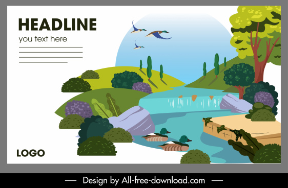nature landscape poster colorful design stream sketch