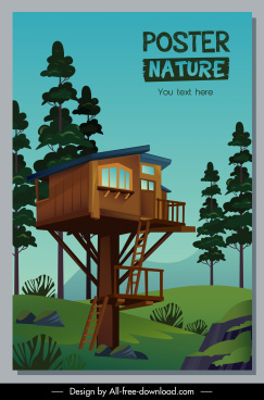 nature living poster template tree cottage sketch