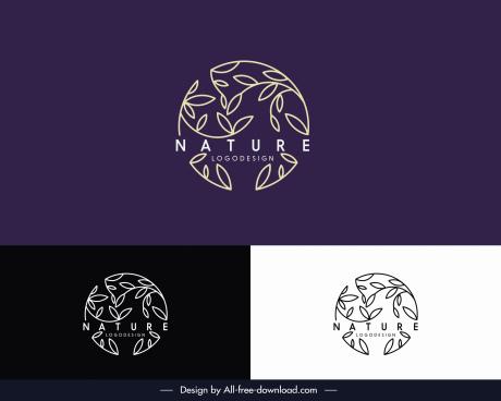 nature logo template flat handdrawn leaf circle layout