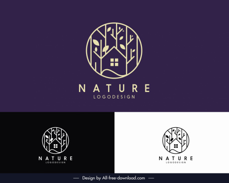 nature logo template flat tree house circle layout