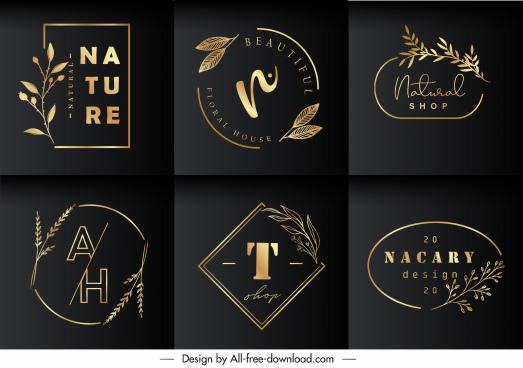 nature logo templates elegant dark golden plants decor