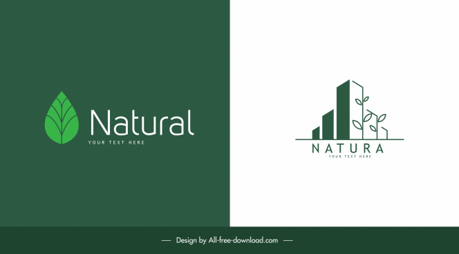 nature logo templates flat green leaf tree buildings