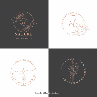 nature logo templates flat handdrawn sketch