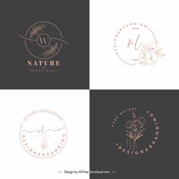 nature logo templates flat handdrawn sketch