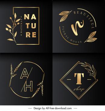 nature logo templates golden leaves decor dark elegance