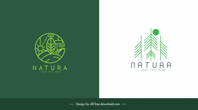 nature logo templates green flat elements sketch